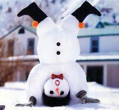 Cute upside down snowman.