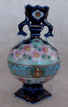 Antique Hand Painted Nippon Vase, Cherry Blossoms Enamel & Beads.