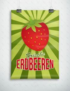 Frische Erdbeeren - Plakat - Poster, P-FP-0025   Plakate   Werbedesigns   Despri