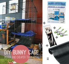 DIY Bunny cage made with simple storage cubes from Bed Bath and Beyond. 14 square feet total. Total cost=$47! Im Building this for my bunnykins!!!!