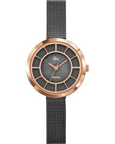Ρολόι GO Ladies Black Stainless Steel Bracelet - 695027 - OROLOI.gr Black Stainless Steel, Stainless Steel Bracelet, Schmuck Online Shop, Gold Watch, Omega Watch, Bracelets, Watches, Leather, Products
