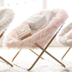Himalayan Blush Faux-Fur Hang-A-Round Chair #pbteen
