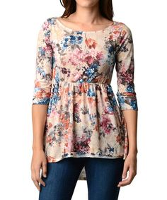 with some cute tan booties and pant cuffed up to the ankle with some cute bold gold necklace and earrings this would be soo cute !!! Another great find on #zulily! Beige Floral Hi-Low Tunic #zulilyfinds