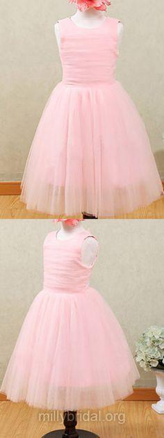 Sweet Pink Flower Girl Dresses Tulle, Draped Scoop Neck Flower Girl Dresses Ankle-length