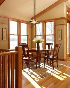 Sunny Country/Rustic Dining Room by Susan Brown on HomePortfolio Craftsman Furniture, Craftsman Interior, Modern Craftsman, Craftsman Style, Craftsman Homes, Arts And Crafts Interiors, Arts And Crafts House, Home Crafts, Dining Room Art