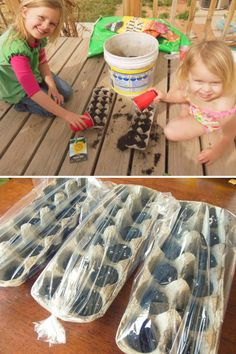 4. Fill the used egg cartons with some potting soil to plant the seeds, and then cover the containers with a plastic bag to create a lovely little greenhouse. | Fun Kids Gardening Projects To Do This Spring