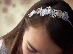 Headband fleurs dentelle mariage féerique, mariage bohème boho chic coiffure simple et naturelle