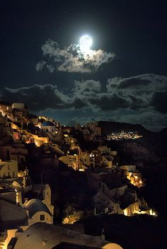 Oia, Santorini, Greece  Under Moonlight