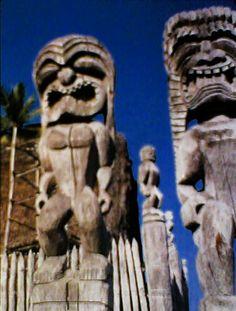 "Hawaiian gods protecting the ""City of Refuge.""    PUʻUHONUA O HŌNAUNAU NATIONAL HISTORICAL PARK, on the Big Island (Hawaii)."