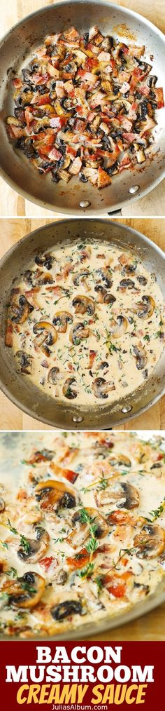 Low Unwanted Fat Cooking For Weightloss Creamy Mushroom Sauce With Bacon And Thyme - A Great Accompaniment To Baked And Grilled Meats, Chicken, Pork, Steaks. Creamy Mushroom Sauce, Creamy Mushrooms, Mushroom Chicken, Bacon And Mushroom Pasta, Rosemary Chicken, I Love Food, Good Food, Yummy Food, Tasty
