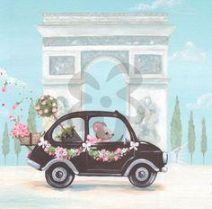 Little Black Car, Girl Canvas Wall Art | Oopsy daisy