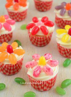 Jelly bean bloemen cupcakes