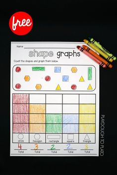 Shape Graphs Free Shape Graphs Fun Shape Activity And Graphing Activity In One Perfect For Kindergarten Or Preschool Math Shape Activities Kindergarten, 2d Shapes Activities, Preschool Math, Kindergarten Worksheets, In Kindergarten, Preschool Ideas, Learning Shapes, Learning Tools, Fun Math