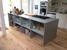 Bespoke formica clad plywood kitchen island