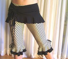 Capri bloomers ruffles pants  ivory black dots  YOUR by creaturre, $49.00