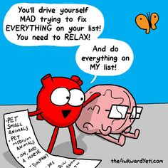 40 Heart and Brain cartoons from The Awkward Yeti — Unreal Side of entertainment Funny Cartoons, Funny Comics, Funny Jokes, Hilarious, Funny Sayings, Heart And Brain Comic, The Awkward Yeti, Akward Yeti, Coaching