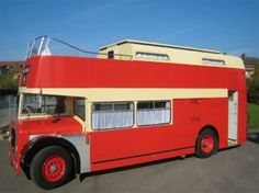 This vintage 1960 Bristol transit bus has been converted into a luxury motorcoach, complete with kitchen, watercloset and separate upstairs sleeping quarters.