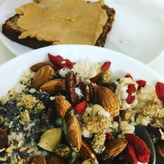 """Breakfast of champions - """"Feel Good"""" porridge with linseed chia almonds pecans Brazil nuts goji berries white mulberries plus a rye bread toast with unsalted  peanut butter  Eat well every morning!"""