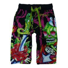 Ed Hardy Mens Soft Knit Graphic Sleep Lounge Pajama Shorts XS (24-26) Black at Amazon Men's Clothing store: #GreatSkyGifts
