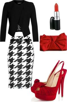All items I love...Black Fitted Blazer, Pied de Coq Pencil Skirt, Red Clutch and Heels. Rouge Lipstick.