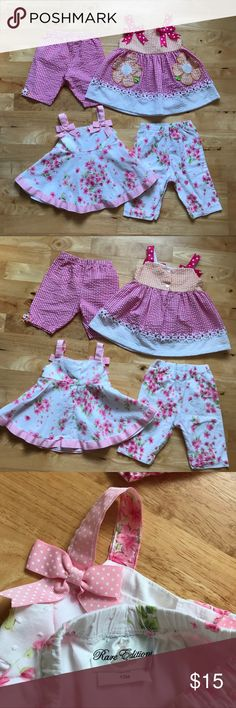 2 Springtime Pants/Tank Outfit Sets Like new condition! Pretty little outfits with bow accents on top straps and button back closures. Flower pockets on checkered top and textured materials are adorable details that make these outfits special. From a smoke-free and pet-free home. Matching Sets