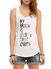 HOTTOPIC.COM - Song Lyrics Girls Tank Top.  Great gift for Juls.