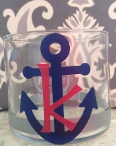 Love to be a little nautical? Then you'll adore this personalized anchor jar! I use mine, the one with the K, to hold my car keys, iPod and sunglasses so that everything I need for the next day is right there in the same spot!  It's perfect as a small candle holder, makeup brush holder, pencil/pen holder and so much more! Choose your glass size &; send us a message with what initial you'd like!
