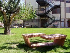 Public bench / contemporary / engineered stone / for public areas BANDA DOBLADA Escofet
