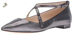 Nine West Women's Anastagia Pointed Toe Flat, Silver, 7.5 M US - Nine west flats for women (*Amazon Partner-Link)
