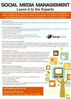 Busy Lizzie Social Media Management Leaflet