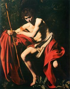 """""""João Batista no Deserto"""".   (by Caravaggio).  Museu de Arte Nelson-Atkins , Kansas City, USA."""