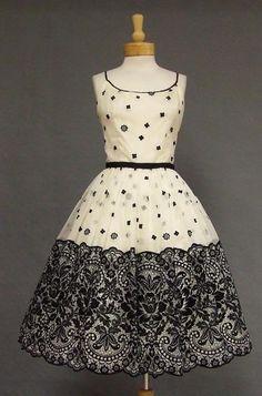 elba  Ivory & Black Flocked Chiffon Cocktail Dress