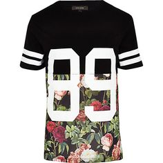 Black floral 89 print t-shirt - print t-shirts - t-shirts / vests - men