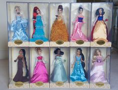Wish i bought these when they came out. Princess Collection, Barbie Collection, Designer Collection, Disney Fan Art, Disney Love, Disney Pixar, Disney Beauty And The Beast, Disney And More, Disney Princess Doll Set