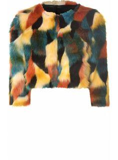 Multi Coloured Faux Fur Cropped Coat