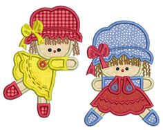 APPLIQUE RAG DOLLS Machine Embroidery design set  You will receive on your Digital Download * 2 designs in 3 sizes to fit 4x4in (100mm x 100mm), 5x5in (130mm x 130mm) and 5x7in (130mm x 180mm) hoops * The following Formats = ART3 * ART5 * DST * EXP * HUS * JEF * PES * VIP * VP3 * Summary Files showing number of stitches, number of colours and size of each design  You must have an embroidery machine and a way to transfer the files from your computer to your embroidery machine. These are n...