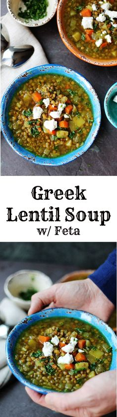 This soup is called 'Fakes' and it's a staple of traditional Greek cuisine. And its deservingly achieved staple status. Fakes is served with lots of olive oil(!), red wine vinegar, and topped with feta; thereby elevating Lentil Soup to another level.