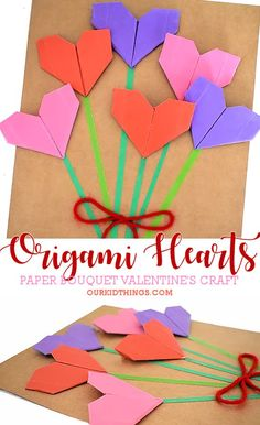 When it comes to Valentine's Day, it's all about hearts and love. So make this Origami Heart Bouquet Card Craft for someone who really means a lot! Origami Star Paper, Origami Cards, Origami Ball, Origami Boxes, Origami Tattoo, Valentines Day Activities, Valentine Day Crafts, Holiday Activities, Toddler Activities