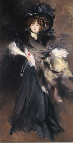 French actress Genevieve Lantelme by Giovanni Boldini. ('Portrait of Mademoiselle Lantelme'),1907. Fell from a yacht and died in 1911, possibly murdered. KA