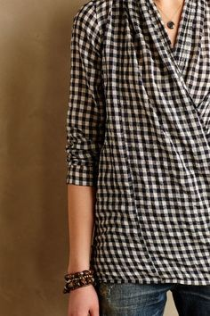 Draped Gingham Buttondown - anthropologie.com #anthrofave