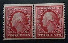 SCOTT #353  MINT  1909  WASHINGTON COIL LINE PAIR  CV  $750.00