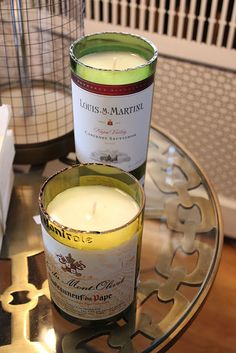 cut-off wine bottles for candles