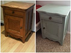 DIY end table transformation thanks to Annie Sloan.  Annie Sloan Chalk Paint   Color: Duck Egg and Clear Soft Wax    http://www.anniesloan.com/acatalog/paints.html