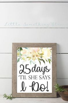 Bridal Shower Wedding Day Countdown Digital Sign // Wedding