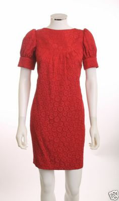 ALI RO YOKE FRONT CAP SLEEVE POCKETS LINED CIRCULAR DESIGN RED TUNIC DRESS SZ 8