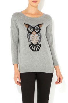 Grey Owl Motif Jumper