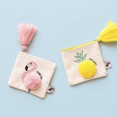 Flat Coin Purse – Flamingo – Purses And Gandbags Organization Embroidery Bags, Embroidery Patterns, Sewing Patterns, Purse Patterns, Diy Bags Purses, Diy Purse, Cute Coin Purse, Cheap Purses, Coin Bag