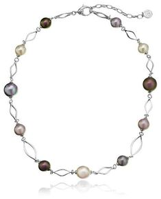 Majorica multi-colored pearl necklace in sterling silver. A great twist on the classic pearl necklace.