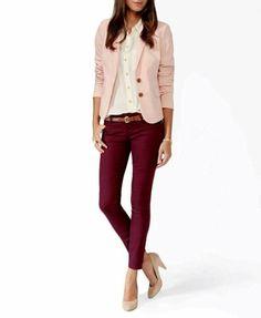 Purple pants blush jacket