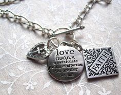 Faith, Love, Heart, Cross Charm Necklace. $18.00